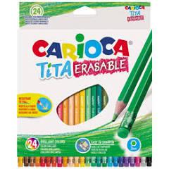 Carioca Tita - Pastello colorato - colori assortiti brillanti - 3 mm - pacco da 24